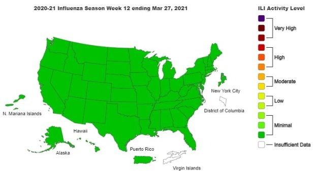 May be an image of map and text that says '2020-21 Influenza Season Week 12 ending Mar 27, 2021 ILI Activity Level Very High High N. Mariana Islands New York City Moderate Hawaii District of Columbia Low Alaska Puerto Rico Minimal Insufficient Data Virgin Islands'